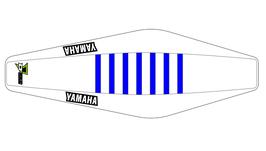 Factory Sitzbankbezug Yamaha White Top - White Sides - Blue Ribs