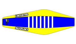Factory Sitzbankbezug Suzuki Blue Top - Yellow Sides - White Ribs