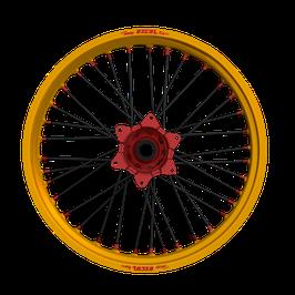 Radsatz Honda ► Excel Felge Gold   Kite Nabe Rot   Speichen Schwarz   Nippel Rot