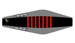 Factory Sitzbankbezug Suzuki Black Top - Grey Sides - Red Ribs