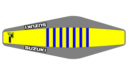 Factory Sitzbankbezug Suzuki Yellow Top - Grey Sides - Blue Ribs
