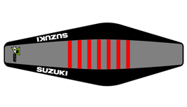 Factory Sitzbankbezug Suzuki Grey Top - Black Sides - Red Ribs