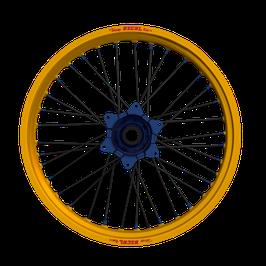 Radsatz KTM ► Excel Felge Gold | Kite Nabe Blau | Speichen Schwarz | Nippel Blau