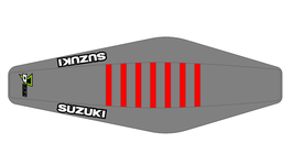 Factory Sitzbankbezug Suzuki Grey Top - Grey Sides - Red Ribs