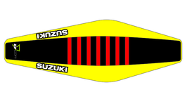 Factory Sitzbankbezug Suzuki Black Top - Yellow Sides - Red Ribs