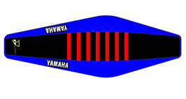 Factory Sitzbankbezug Yamaha Black Top - Blue Sides - Red Ribs