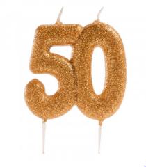50th ANNIVERSARY CANDLES GLITTER 8cm