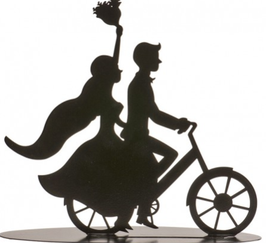 "Hochzeitspaar - Wedding Couple Metal Black Colour ""Bicycle"" 18 CM"