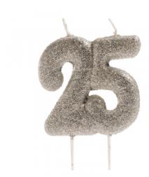 25 ANNIVERSARY CANDLES GLITTER 8cm