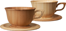 ☆ Wooden Teacup & Saucer (pair) ☆