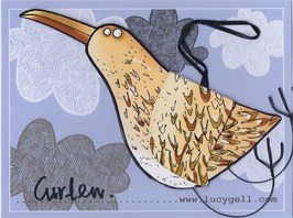 Pop-Up 3D Hanging Curlew Bird Greeting Card