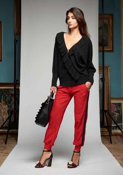 Pantalone colore rosso donna Denny Rose art 721DD20026 Autunno Inverno 2017 2018