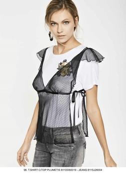 Completo T-shirt maglia manica corta+ top donna Denny Rose art 811DD60019 Primavera 2018