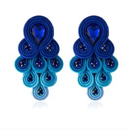 """Ohrstecker """"Peacock"""" - Prächtiges Ethno Bohème Design in Blau"""