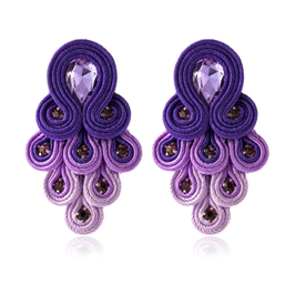 "Ohrstecker ""Peacock"" - Prächtiges Ethno Bohème Design in Violett"