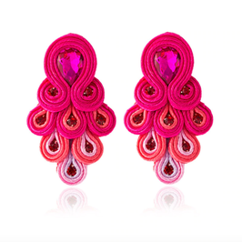 "Ohrstecker ""Peacock"" - Prächtiges Ethno Bohème Design in Pink"