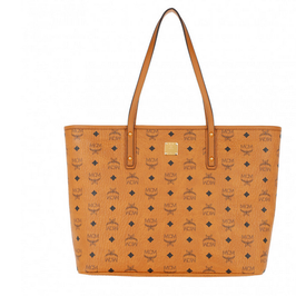 MCM Medium Anya Top Zip Shopper Monogramm in Cognac