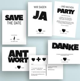 Einladungskarten-Set Druckvorlagen für die etwas andere Hochzeit