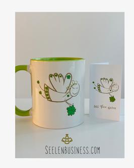 Glücksbringer-Tasse und Mini-Glücks-Klappkarte
