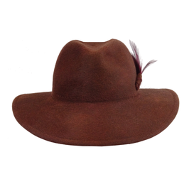 Hut und Robe großer Trilby 100% Haar. Rostbraun melange