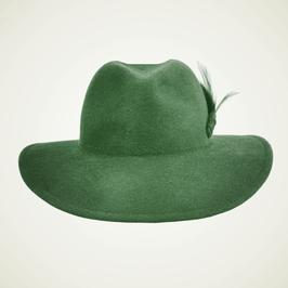 Hut und Robe großer Trilby 100% Haar grün