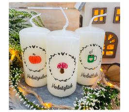 Dekokerze *Herbstliebe Set Minikerzen * farbig Blätterkranz mit Herz 3 Minikerzen 8/4 cm Pilz & Kürbis & Tasse
