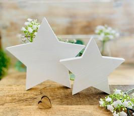 Kerzenständer *Sternchen* Holz Stern 15 oder 20 cm handgesägt & weiss lasiert