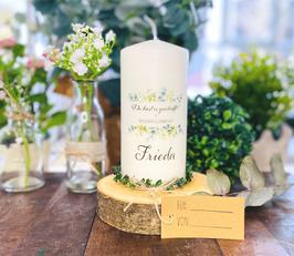 Personalisierte Geschenk Kerze zum bestandenen Abitur *Frieda*Blätter Eukalyptus Oliven Bouquet abike4