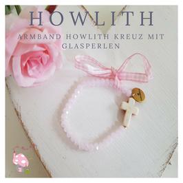 Howlith Kreuz Armband zur Taufe oder Kommunion aus Glasschliffperlen rosa