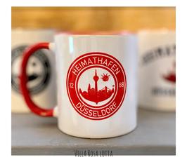 ZDÜBE002 Becher ⋆ Heimathafen Düsseldorf Tasse 1288 In rot weiss ⋆  Kaffeebecher für Düsseldorfer Fans