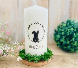 Kerze *Hasenliebe Fritz Herzenskranz Stempel * Osterkerze Frohe Ostern zum verschenken oder selberbehalten
