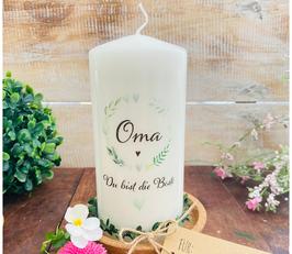 Kerze * Blätterherzenkranz Oma * Du bist die Beste
