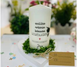 Personalisierte Geschenk Kerze zur bestandenen Prüfung *Bachelor* Herzlichen Glückwunsch personalisierte Kerze mit Namen + Datum abke2