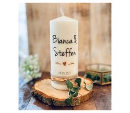 Hochzeitskerze handgemaltes Herz *Bianca* Kupfer roségold