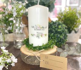 Personalisierte Geschenk Kerze zur bestandenen Prüfung *Hedwig* Blumen Bouquet Eukalyptus Oliven abike5a