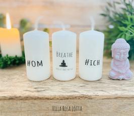 *#Buddha Meditate Kerzenset * Geschenke Yoga & Meditation #om + Buddha meditate + #ich