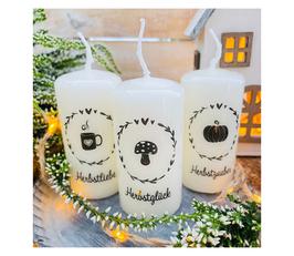 Dekokerze *Herbstliebe Set Minikerzen * schwarz Blätterkranz mit Herz 3 Minikerzen 8/4  cm Pilz & Kürbis & Tasse