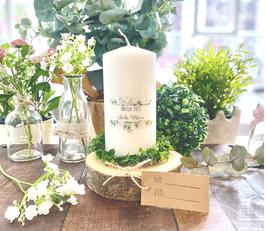 Personalisierte Geschenk Kerze zum bestandenen Abitur *Stella* Blumen Bouquet Eukalyptus Oliven abike5