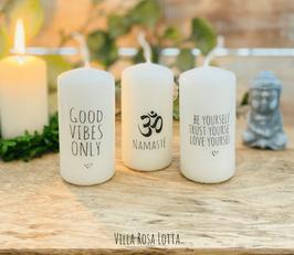 *Vibes Kerzenset * Geschenke Yoga & Meditation Good Vibes only + Om Namsté + Yourself