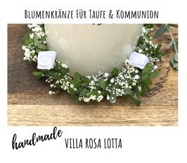 """Blumenkranz """"SCHNEEWEISSCHEN"""" grün weiß mit Rosen in weiß ⋆ Blätterkranz⋆ Kerzenkranz ⋆"""