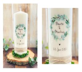 Hochzeitskerze Blätterkranz *Beate* aus Oliven und Eukalyptus im greenery urban Look- Blätter Mix mit schwarzer Kalligrafie