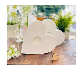 Kerzenständer *Herzchen* Holz Herz für die 40/4 cm Kerzen handgesägt & weiss lasiert