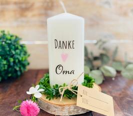 Kerze * Danke Oma mit rosa Herz * personalisiertes Muttertagsgeschenk