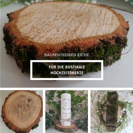 Baumscheibe Holzscheibe aus Eiche mit Moosbewachs