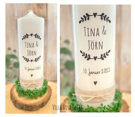 Kerze Blätterzweige Herz *Tina* Stempel Vintage rustikal mit Jute schwarz