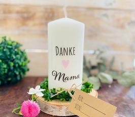 Kerze * Danke Mama mit rosa Herz * personalisiertes Muttertagsgeschenk