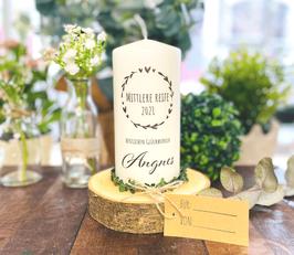 "Personalisierte Geschenk Kerze zur mittleren Reife *Angnes"" Herzenskranz Stempel Glückwunsch personalisierte Kerze mit Namen abike3a"