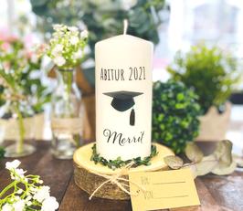 Personalisierte Geschenk Kerze zum bestandenen Abitur *Merrit* bachelorcap  abike2