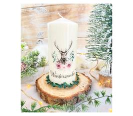 Dekokerze *Winterzauber Hirsch* mit Blumen & Zweigen & Geweih Dekoration zum Herbst/Winter