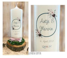 Kerze Hochzeitskerze Blumen Kreis *Antje*